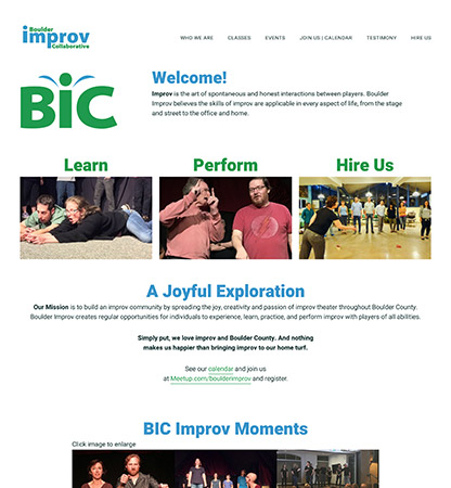 Boulder Improv Collaborative | site customized design on Studiopress-sites