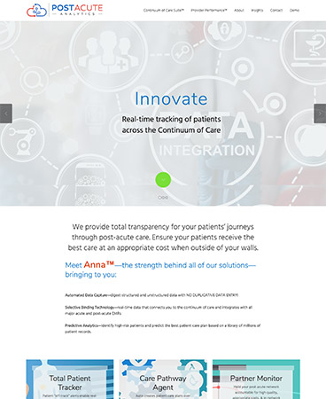 Post Acute Analytics site-customized design on Jumpstart-theme