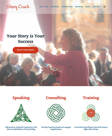 Story Coach site | customized design on the Jump Start theme