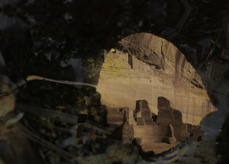 Canyon de Chelly through an aspen leaf montage