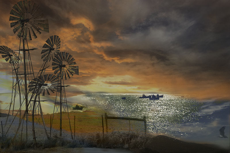 Possibilities Beyond the Storm | windmills, sea, boats and sunset montage
