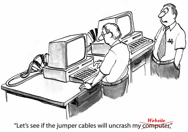 Cartoon using jumper cables to revive crashed website
