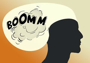 Boomm noise in head illustration