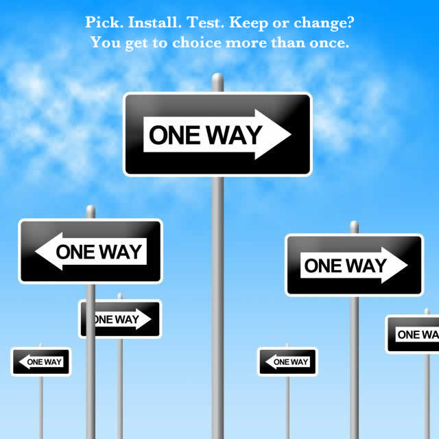 One way signs pointing in various directions...no one right way